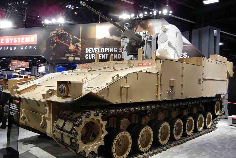 Прототип бронемашины GCV от BAE Systems, вооруженный турелью Mk 38