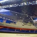 Стенд российской компании Рособоронэкспорт. Макет фрегата проекта 11356
