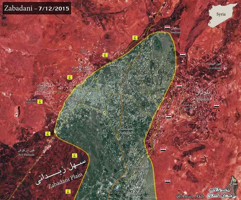 Карта боев в Забадани на 12 июля 2015 года