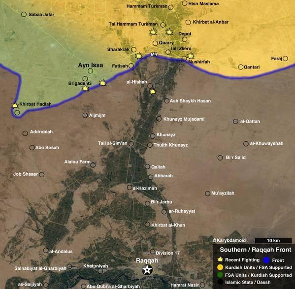 Карта боев в провинции Ракка на 12 июля 2015 года