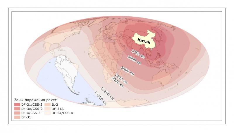 Радиус поражения китайских баллистических ракет